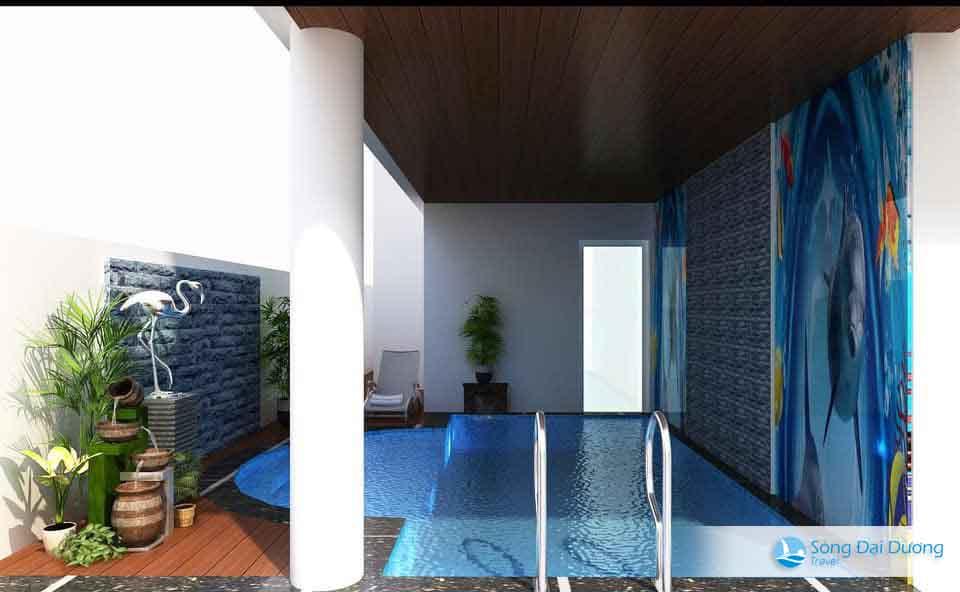 Bể bơi riêng biệt tại biệt thự tạo nên không gian vui đùa cho các bé