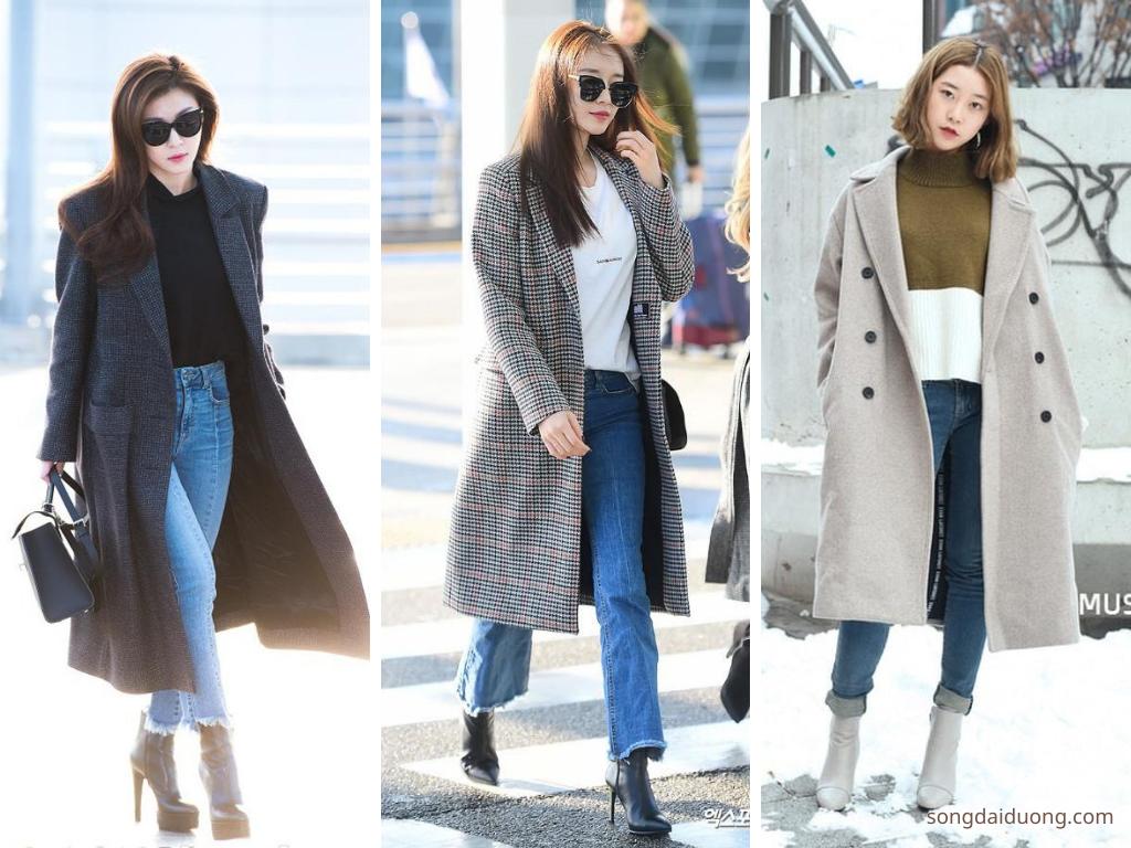 Áo khoác dài và quần Jean - du lịch mùa đông nên mặc gì