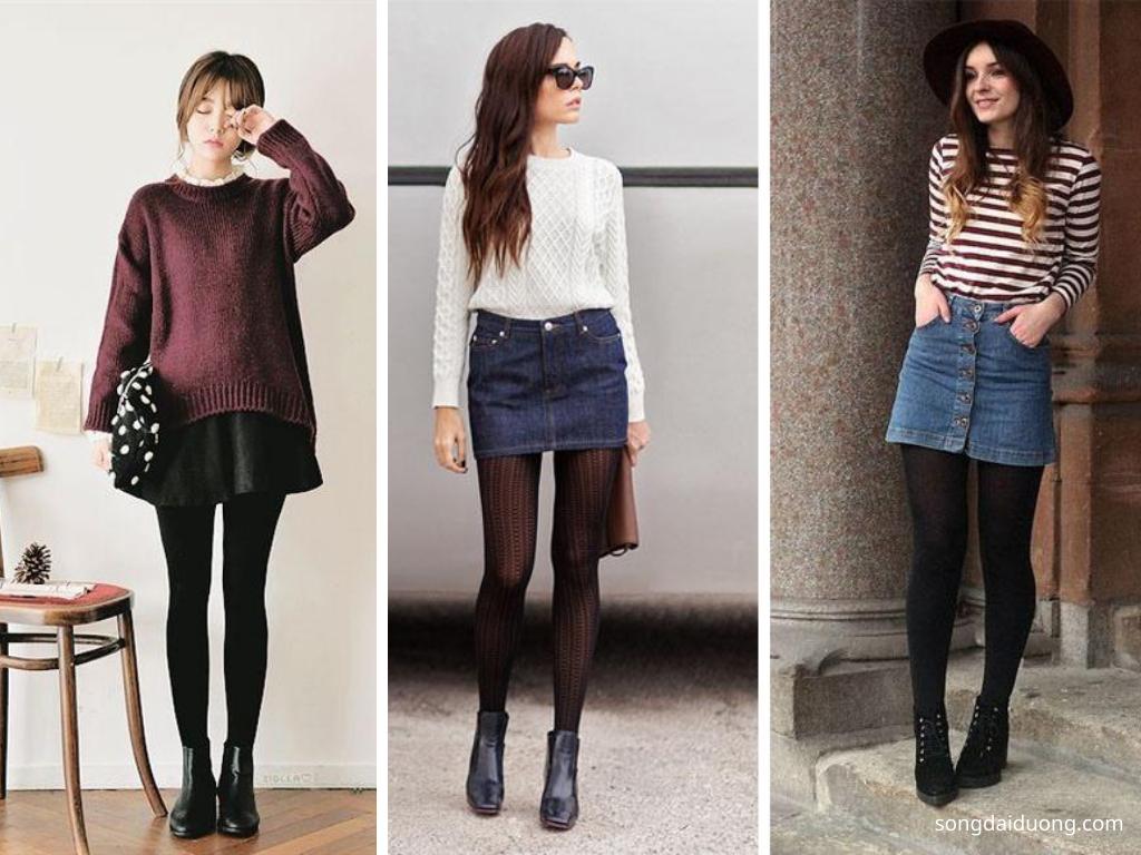 Áo len, chân váy và quần tất - du lịch mùa đông nên mặc gì